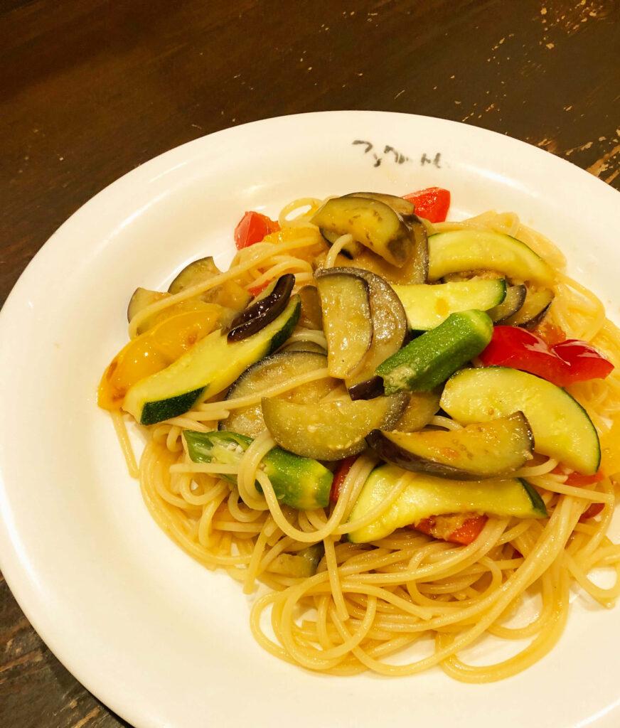 夏野菜のしょうが醤油スパゲッティ